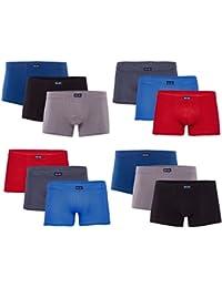 SPARPACK 12 oder 6 weiche elastische Herren Boxershort in vielen schönen klassischen Farben blau grau schwarz für jeden Tag - S M L XL 2XL 3XL4XL - Retroshorts Retropants