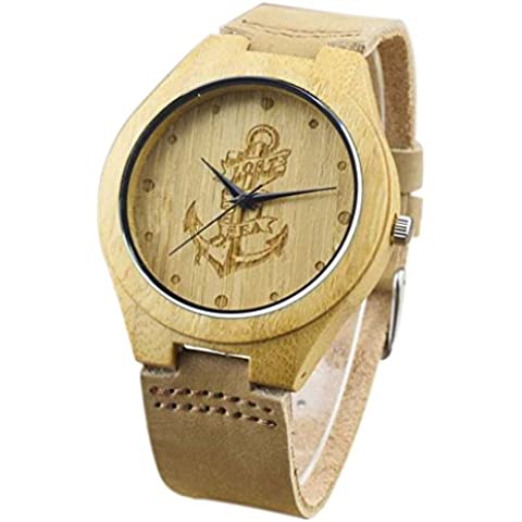 Eyekepper–grabada Barco Pirata Gancho bamboos Reloj con Banda de cuero marrón bambú reloj de cuarzo correa de piel hombres relojes