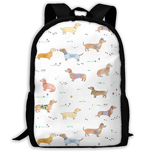 Dachshund Clipart Sausage Dog 9 Unisex Adult Unique Rucksack,School Casual Sports Book Bags,Durable Oxford Outdoor College Laptop Computer Shoulder Bags,Lightweight Travel Tagesrucksäcke