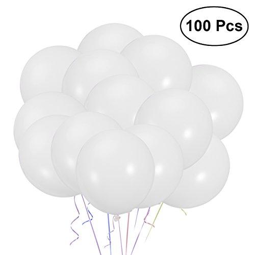 lons Weiß Runde Perle Luftballons für Geburtstag Hochzeit Party Supplies,12 inch,100 Stück ()