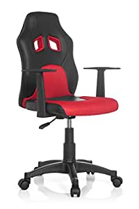 hjh office 670720 kinderschreibtischstuhl teen racer al kunstleder schwarz rot kinder. Black Bedroom Furniture Sets. Home Design Ideas