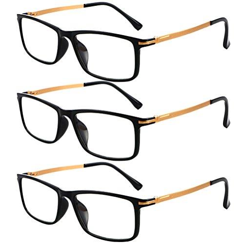 Zhhlinyuan 3 Pack Lesebrille Herren Damen - Readers Black Frame Eyeglasses Reading Glasses for Men Women Fashion 1.0 1.5 2.0 2.50 3.00 3.50 4.00 Strength