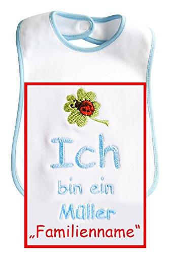 """Baby-Lätzchen mit Stickerei Ich bin ein ... """"Familienname / Wunsch-Nachname"""", Einfassung u. Schrift blau, hochwertige Stickerei; Mitteilung des Wunschnamen siehe Produktbeschreibung"""