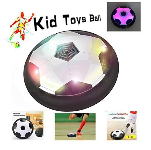 Lenbest JT811 Kinder-Luft-Hover-Ball, für Kinder, Training, Fußball, drinnen und draußen, mit Weichen Schaumstoff-Stoßstangen und bunten LED-Lichtern, Schwarz / Weiß