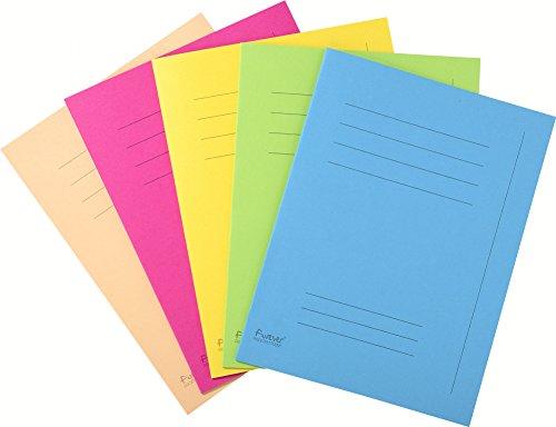 Exacompta 435000E Aktendeckeln Beschriftungsfeld (Recycling-Karton, 250g, Foldyne Forever, DIN A4) 50er Pack Farben sortiert