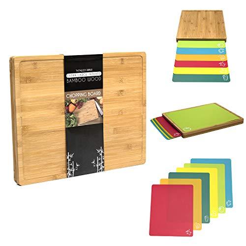 Juego de tablas de cortar 7 en 1 de madera de bambú extra grande (420 mm x 340 mm x 35 mm) con 6 alfombrillas de polipropileno con código alimentario. La elección del cocinero.
