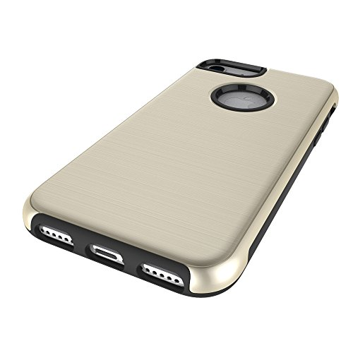 Pour Apple IPhone 7 Case, fini métallique brossé Back Cover Dual Layer 2 In 1 Hybrid Hard PC Soft TPU Bumper Shockproof Case Cover ( Color : Gray ) Gold