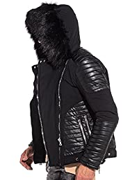 BLZ jeans - Blouson noir capuche fourrure biker effet cuir