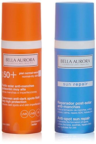 Bella Aurora Fluido antimacchia SPF50 pelle normale o secchi + riparatore solare - 1 Pack