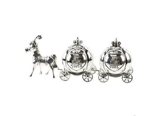 Baby Gifts - CG464 - Cadeau de Baptême - Métal Argenté - Carosse de Cendrillon - 5 x 13 x 4 cm