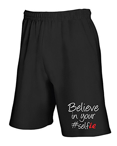 Cotton Island - Pantalone Tuta Corto T0756 BELIEVE IN YOUR SELFIE fun cool geek Nero