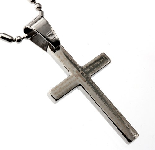 Small Cross 32mm Length Pendant, the Lord's Prayer in Spanish, Finest Quality Stainless Steel Jewelry