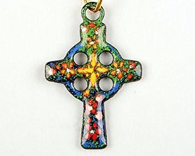 Pendentif croix celte émail sur cuivre
