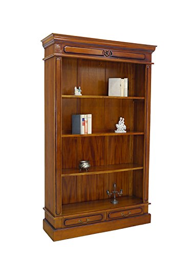 Regal Bücherregal Medienregal mit 2 Schubladen Massivholz antiker Stil (6162) (Bücherschrank Antik)