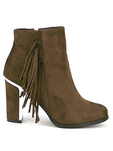 Cendriyon, Bottine simili cuir Marron TERLINA Franges Chaussures Femme Marron