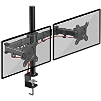 Duronic DM252 Dual PC Monitor Arm Stand Desk Mount Screen Bracket Clamp Double/Twin  LCD  LED   Tilt and Swivel (Tilt ±45° Swivel 180° Rotate 360°)