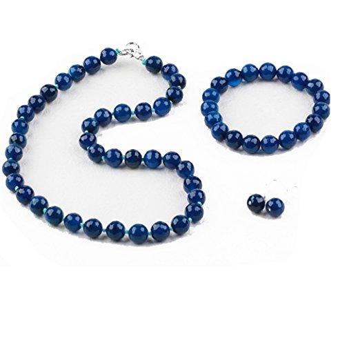 Treasurebay, set di gioielli: orecchini, collana e bracciale, con pietre di agata blu sfaccettata, lussuosa scatola regalo, 12 mm