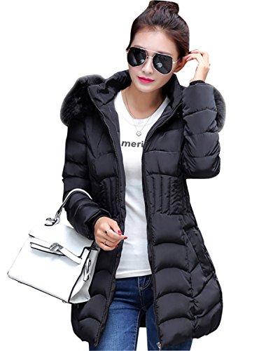 Damen Mantel Wintermantel Elegant Langarm Steppjacke Mittel Lang mit Kunstpelzkapuze Warmen Outwear Jacke Parka Schwarz L