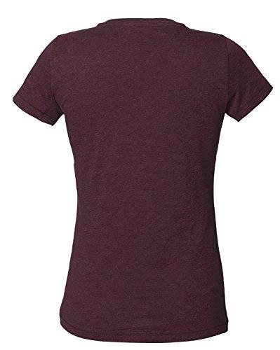 YTWOO Damen V T-Shirt Aus 100% Bio-Baumwolle, V Ausschnitt Shirt,Damen V-Neck, Kurzarm V T-Shirt Damen, Bio T-Shirt mit Weitem Ausschnitt, V Tshirt Baumwolle Heather Weinrot