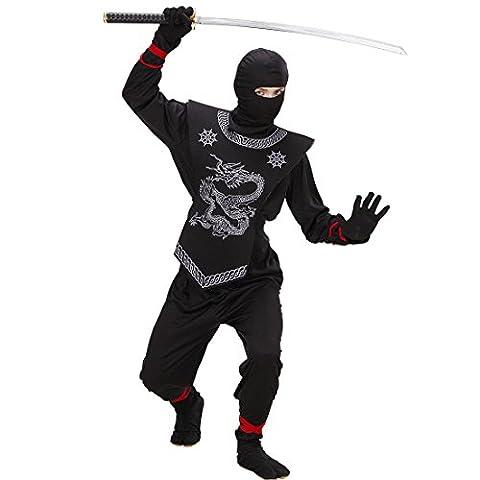 Costume de ninja noir déguisement de samouraï pour enfant 158 cm 12-14 ans Tenue de guerrier asiatique pour enfant soldat japonais combattant Japon tenue complète sport de combat asiatique costume de carnaval déguisement garçons