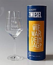 XL Wie war Dein Tag-Weinglas (1x 540ml Glas) von Schott Zwiesel   Made in Germany   Guter Tag, Schlechter Tag, Frag Nicht -Weinglas mit Aufdruck   Rotwein Weißwein   Sternefresser®