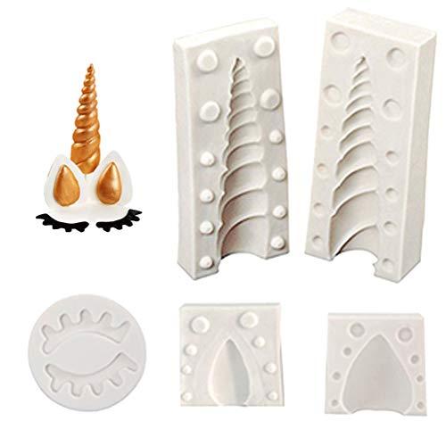 Juego de 5 moldes de silicona para tartas de unicornio con orejas y ojos, para fondant, chocolates, azúcar, decoración