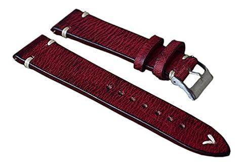 20 mm bracelets en cuir rouge de détresse hommes de luxe de haute qualité sangles de remplacement cuir de vachette