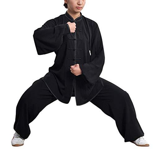 Kung Fu Uniform Tai Chi Baumwolle Und Leinen Kampfkunst Kleidung Wushu Anzug Trainingsanzug Tops Und Hose Für Männer Frauen Schwarz M