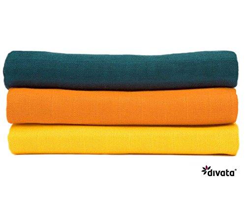 divata bunte Mullwindeln 3er Set - Beikostset - farbige Mulltücher, Spucktücher aus 100% Baumwolle, Oeko-Tex-Zertifiziert, 80x80 cm