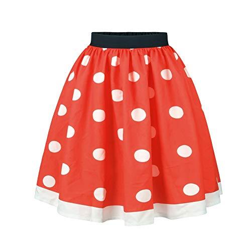 Lianmengmvp per ragazze, gonna plissettata elasticizzata, taglia dai 2 ai 17 anni gonna a pois da bambina, tipo rock n roll, stile anni '50-'60
