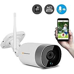 Jennov Caméra Surveillance WiFi, HD 1080P CCTV Caméra Extérieure/Intérieure sans Fil Caméra IP de Sécurité avec Audio Bidirectionnel, Alerte de Détection par Email ou par APP, 32G Carte SD Inclus