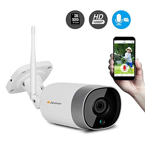 Jennov Wireless IP Security CCTV Camera 1080P Outdoor WiFi Home  Surveillance Video Caemras Two Way Audio Night Vision With Pre-installed  32G MicroSD