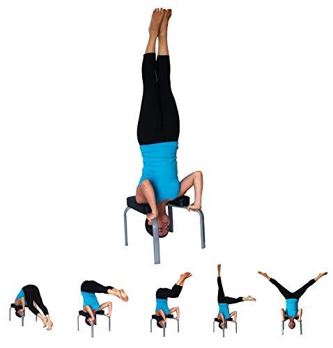 JIAL-SMEIL Yoga Handstand Bench - Yoga Praxis - Stand Yoga Stuhl für Familie, Gym - Holz und PU-Pads - Entlasten Sie Müdigkeit und steigere Deine Kraft und Körperbeherrschung (Schwarz) -