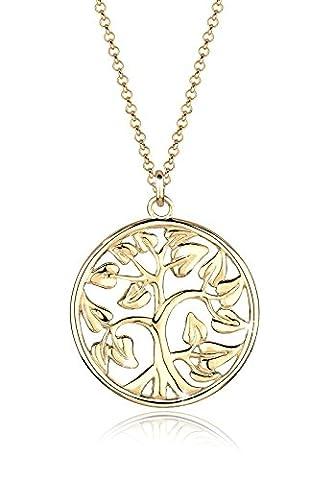 Goldhimmel Damen Schmuck Halskette Kette mit Anhänger Tree of Life Symbol Lebensbaum Filigran Glücksbringer Silber 925 Vergoldet Länge 70 cm