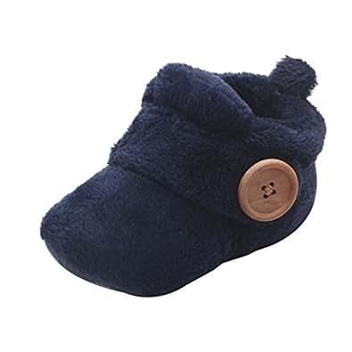 Invernali Caldi Carino Baby Toddler Antiscivolo fondo morbido Scarpe da bambino Stivali di lana Scarpe in Cotone Spesse Scarponi da neve Baby Shoes (21 EU, Blu)