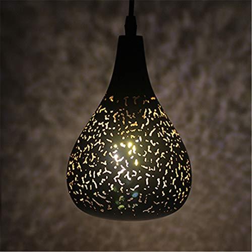 Vintage Pendelleuchte Nordic Porous Loft E27 LED Eisen Radierung Lampenschirm Bar Restaurant Lampe Kreativität Stil Rost Pendelleuchte B with Warm LED - Rost-finish Deckenventilator