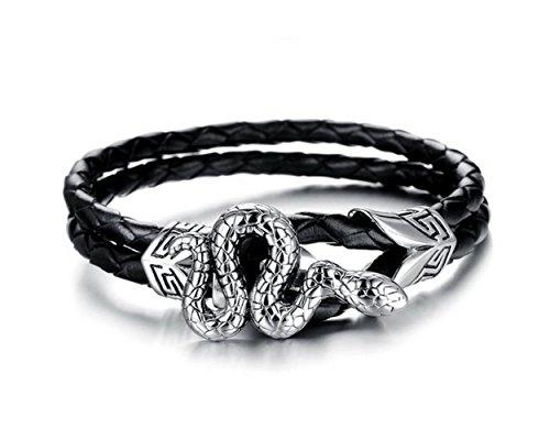 gudeke schwarz Edelstahl Schlange echtes Leder geflochten Seil Armband für Herren -