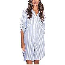 Auxo Vestidos Mujer Fiestas Camisetas Blusas Rayas Manga Larga Blancas Algodón Pullover Casual Camisas T Shirt Tee Blouse Suelto
