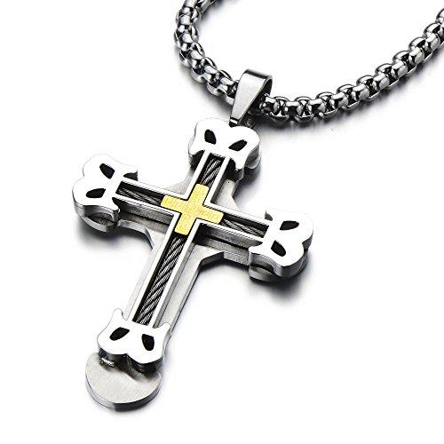 COOLSTEELANDBEYOND Große Kreuz-Anhänger Edelstahl Halskette für Herren Farbe Gold Silber mit 75cm Stahl Weizen-Kette