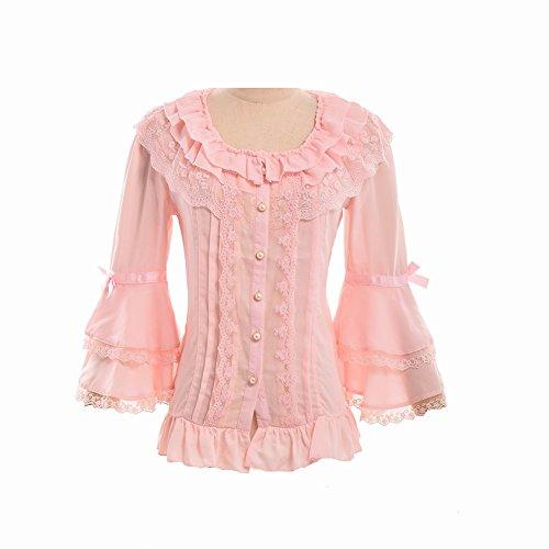 Rock Lolita (BLESSUME Damen Plissee Rock Rüsche Chiffon Retro Viktorianisch Lolita Bluse Weiß (XL) (Rosa, M))