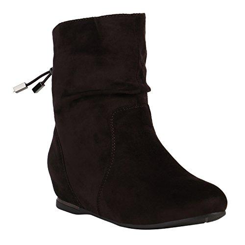 Damen Schuhe Stiefeletten Keilstiefeletten Gefütterte Stiefel Wedges 152215 Dunkelbraun Metallic 39 Flandell (Schuhe Keil Und Stiefel)