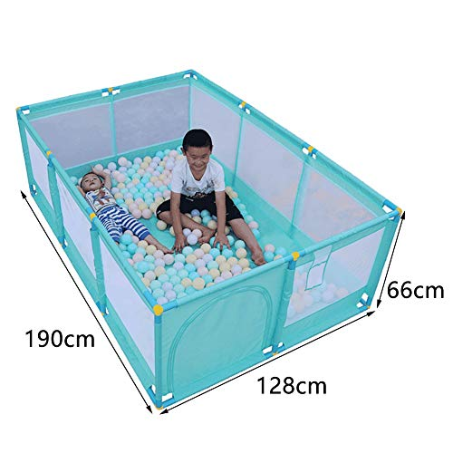 Large Green Children Palypen, Protable Baby Safety Play Center Yard for Indoor Outdoor,190×128×66cm (Size : Playpen+mat+ball)  BSNOWF