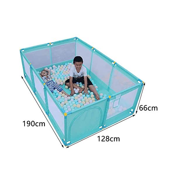 Large Green Children Palypen, Protable Baby Safety Play Center Yard for Indoor Outdoor,190×128×66cm (Size : Playpen+mat+ball) Playpens  9