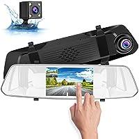 SUAOKI 1080p Full-HD Cámara de Coche, con cámara Trasera HD para estacionamiento, 5 Pulgadas Pantalla táctil nítida, G-Sensor y la grabación en Bucle, admite 128GB SD Tarjeta de Almacenamiento