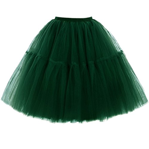 Omela Tüllrock Damen Vintage Tutu Rock Tanzrock Unterrock Petticoat Prinzessin Rock (Frauen Tutu Grün)