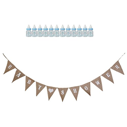 ELECTROPRIME® Baby Shower Christening Baptism Decoration Candy Bottle+Rustic s Banners