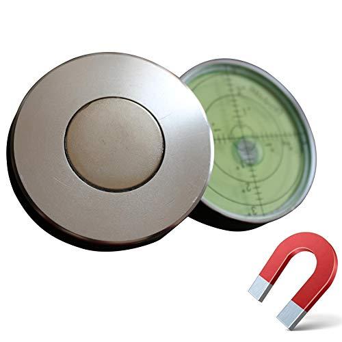 Magnetische, Dosenlibelle - Große Metall-Wasserwaage mit Luftblase, 60mm Durchmesser, Flüssigkeit, Gradangabe, Boden-Wasserwaage - Metallgehäuse, Bullseye, Grüner/Silber