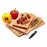 Tablas De Cortar Cocina en Madera Premium Extra-Gruesas | Juego de 3 Piezas en Madera de Bambú para Picar | Certificación FSC y LFGB | Ideal para Carnes, Verduras, Queso y Pan