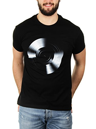 Black Vinyl For A Black Tee - Herren T-Shirt von Kater Likoli Deep Black