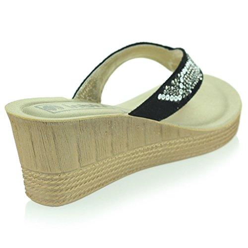 Femmes Dames Diamante Toe Post Casual Confort Enfiler Talon Compensé Sandales Chaussures Taille Noir